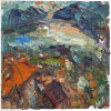 Lago Maggiore at Sunset (Seen from Luino), 2013 oil on linen, 20 x 20 inches (co